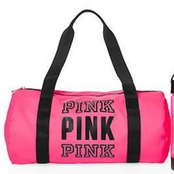 093f1ae1180d PINK Victoria s Secret neon pink duffle gym bag. M 5b9d61de5c445264c3f28b1e